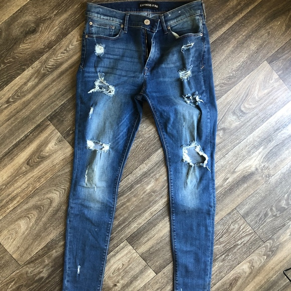 Express Denim - Mid Rise Skinny Distressed Ripped Jeans